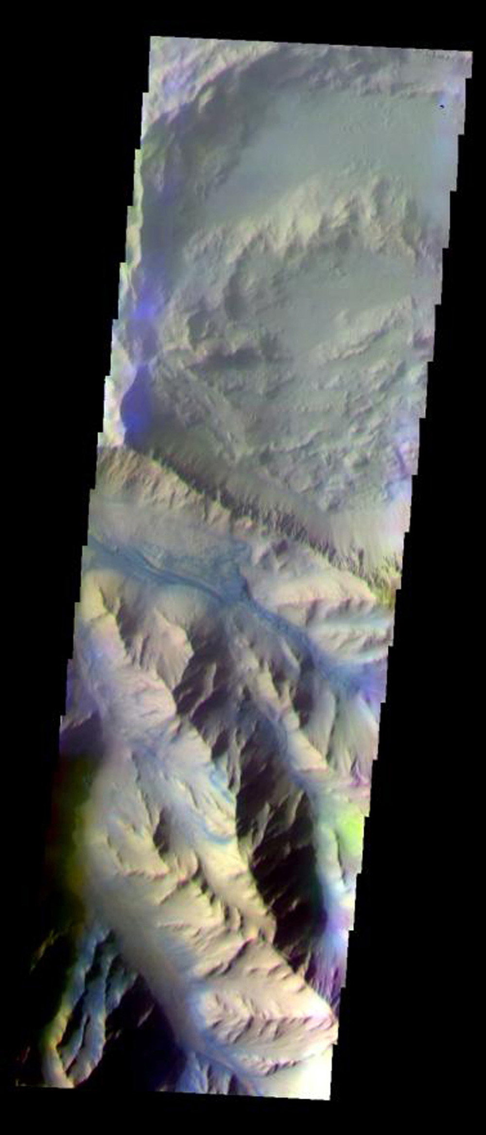 This false-color image from NASA's Mars Odyssey spacecraft shows part of the central ridge in Coprates Chasma, taken during Mars' southern fall season.
