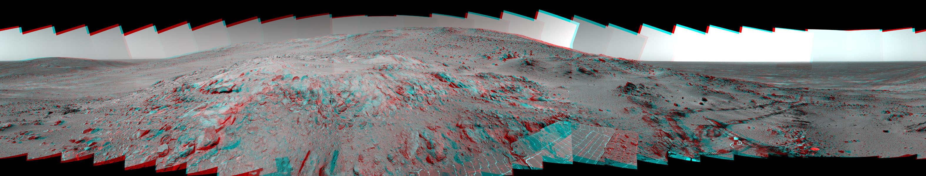 This is a stereoscopic version of NASA's Mars Exploration Rover Spirit's 'Lookout' panorama, acquired on Feb. 27 to Mar. 2, 2005. The view is from a position known informally as 'Larry's Lookout.' 3D glasses are necessary to view this image.
