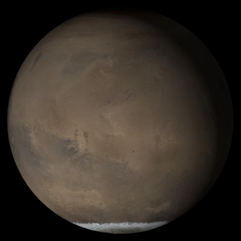 This composite of Mars Global Surveyor daily global images acquired at Ls 211° during a previous Mars year shows the Elysium/Mare Cimmerium face of Mars. This month, Mars looks similar, as Ls 211° occurred in mid-May 2005.