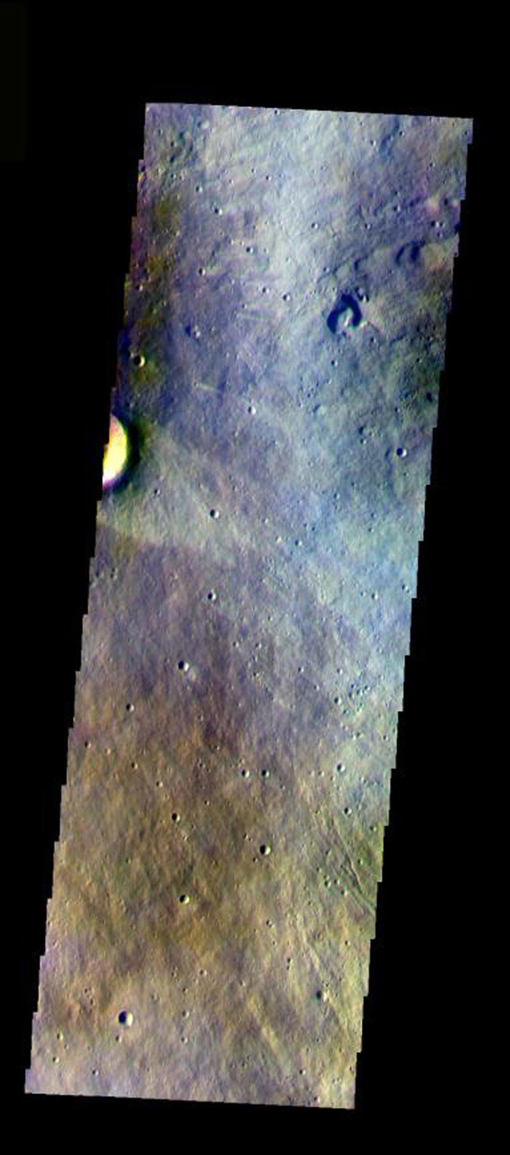 This false-color image from NASA's Mars Odyssey spacecraft shows the eastern flank of Elysium Mons volcano, taken during Mars' northern spring season.