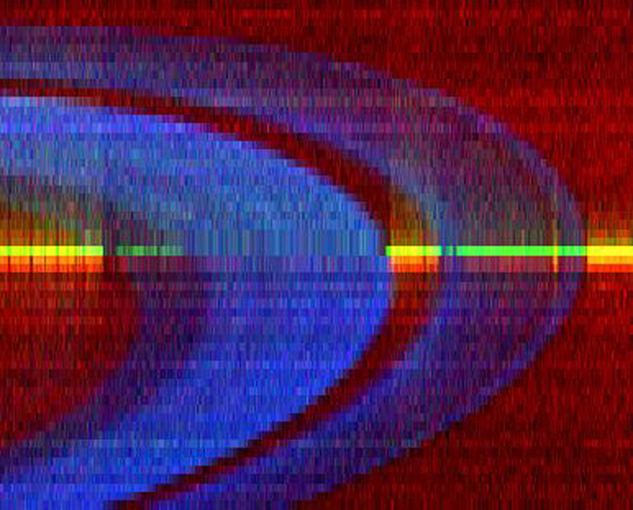 This image is a false-color ultraviolet view of Saturn's B ring and A ring, separated by a large gap known as the Cassini Division. The images were processed from data taken by the ultraviolet imaging spectrograph aboard NASA's Cassini spacecraft.