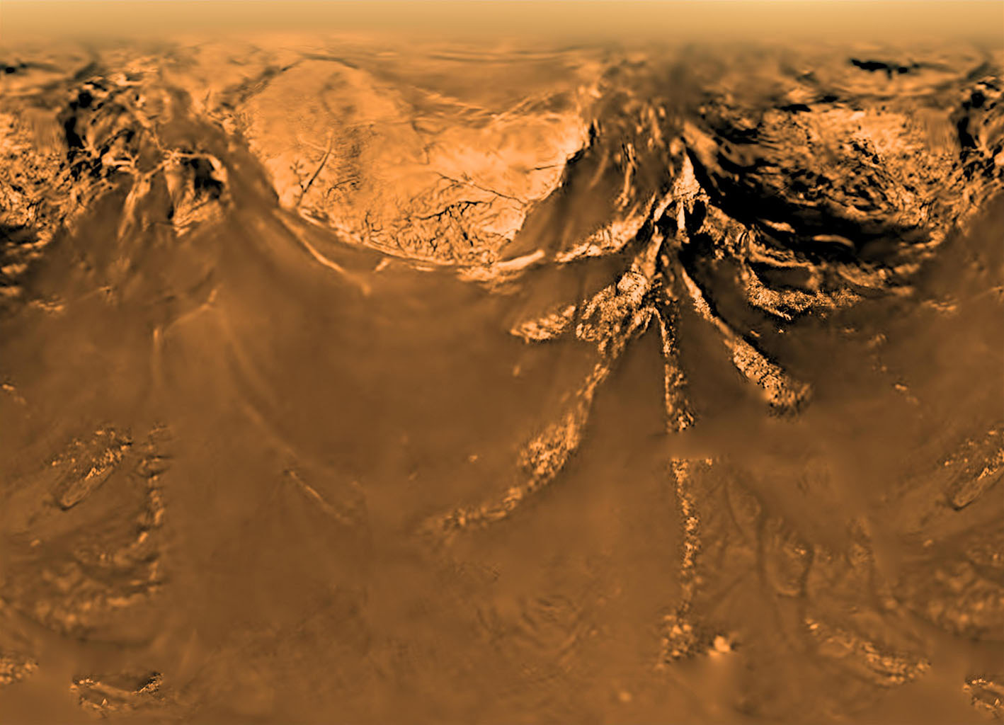 This poster shows a flattened (Mercator) projection of the Huygens probe's view from 10 kilometers altitude (6 miles). The Huygens probe was delivered to Saturn's moon Titan by NASA's Cassini spacecraft.