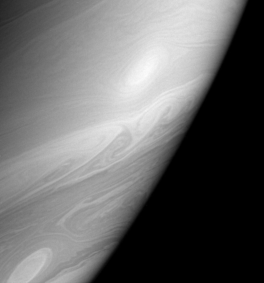Streamers, swirls and vortices roll across the dynamic face of Saturn as seen by NASA's Cassini spacecraft.