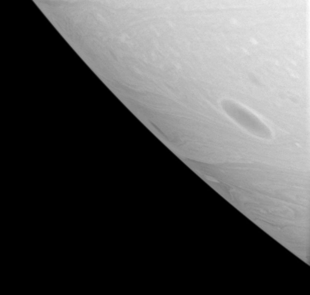 With no solid land to obstruct their progress, dark vortices often roll through Saturn's atmosphere for months or years, before merging with other vortices as seen by NASA's Cassini spacecraft.