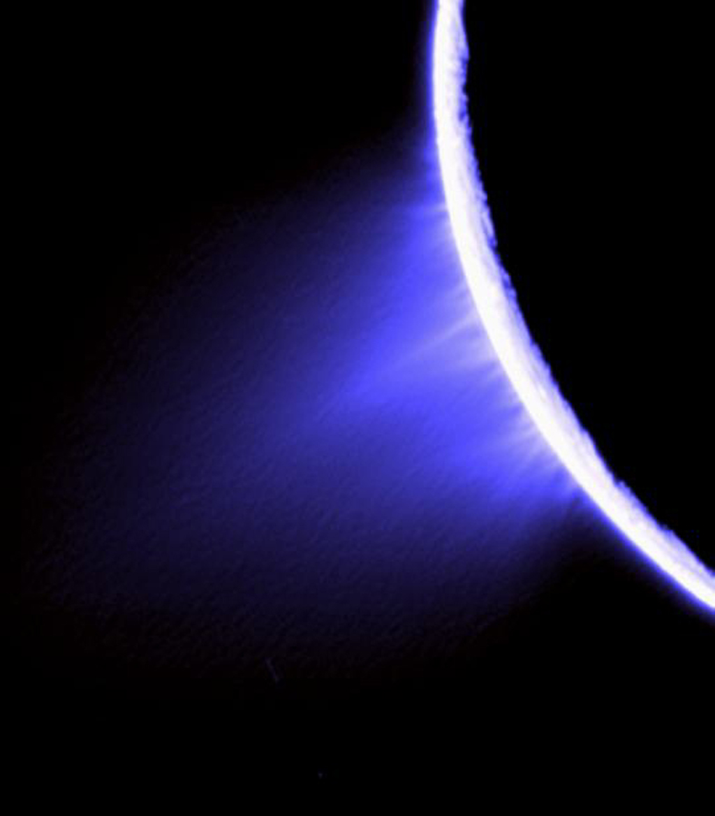 Views like this help identify the source locations for individual jets spurting ice particles, water vapor and trace organic compounds from the surface of Saturn's moon Enceladus. This false-color view was captured by NASA's Cassini spacecraft.