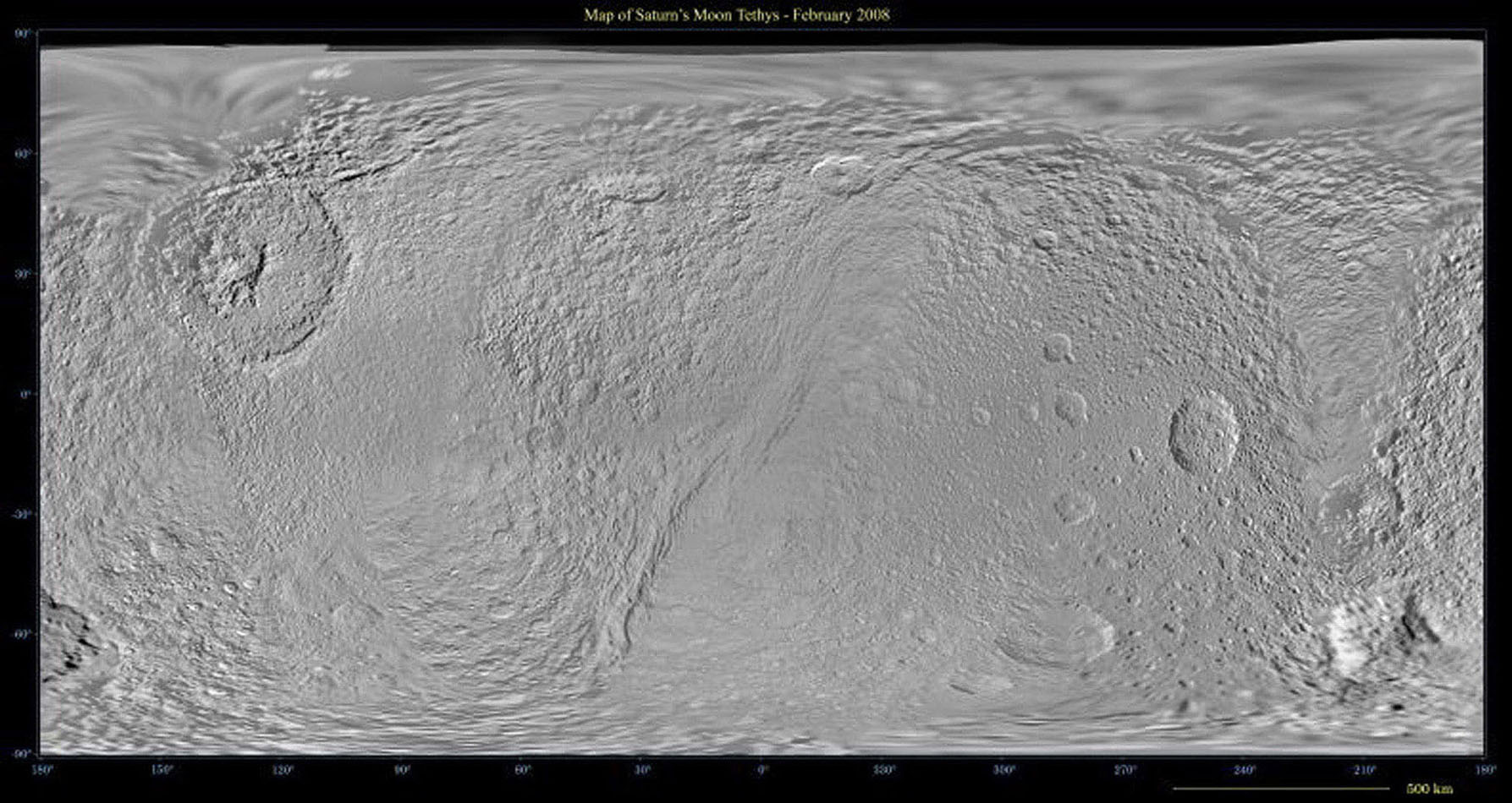 This global map of Saturn's moon Tethys was created using images taken during NASA's Cassini spacecraft's flybys, with Voyager images filling in the gaps in Cassini's coverage.
