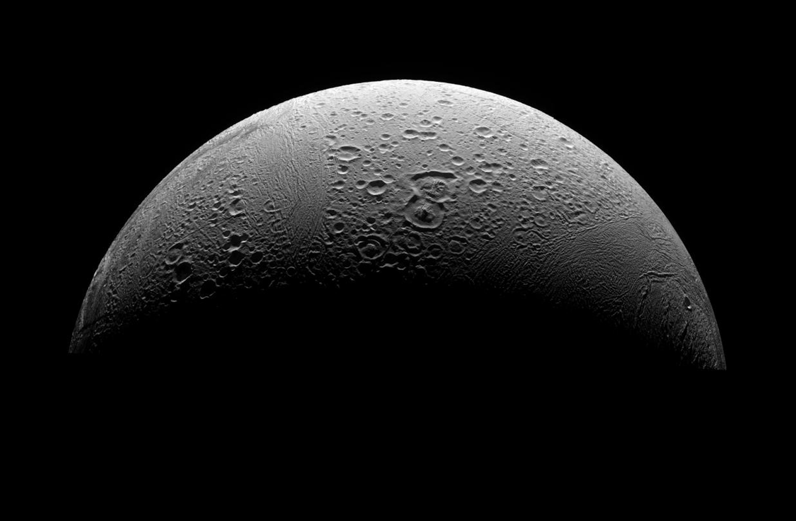 This three-image mosaic is the highest resolution view yet obtained of Enceladus' north polar region. This image was taken in visible light with NASA's Cassini spacecraft's narrow-angle camera on March 12, 2008.