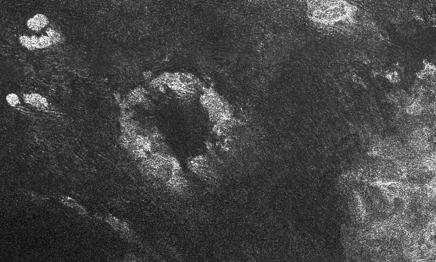This image of Saturn's moon Titan from the Synthetic Aperture Radar instrument on NASA's Cassini spacecraft shows the southwestern area of a feature called Xanadu (bottom right of the image).