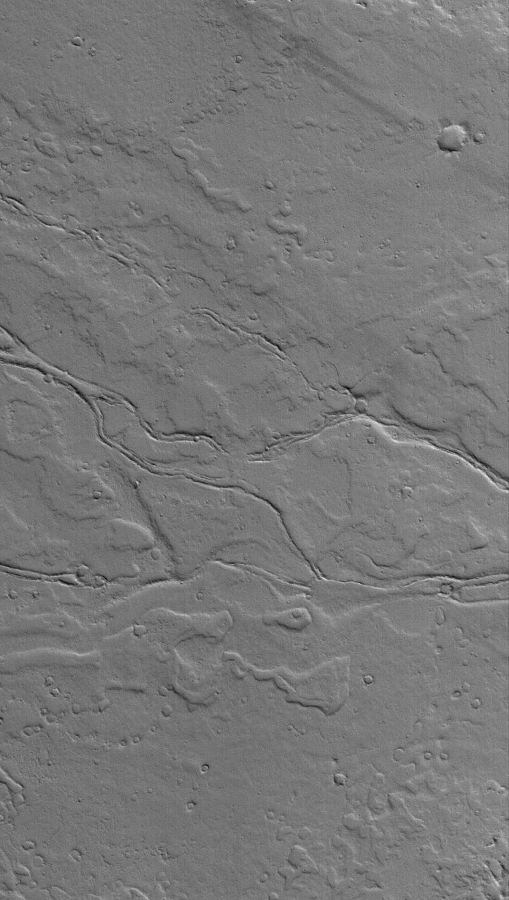This NASA Mars Global Surveyor image shows ancient, dust-covered lava flows and remains of leveed lava channels located on a plain northwest of Jovis Tholus. Jovis is a relatively small volcano in the Tharsis region of Mars.