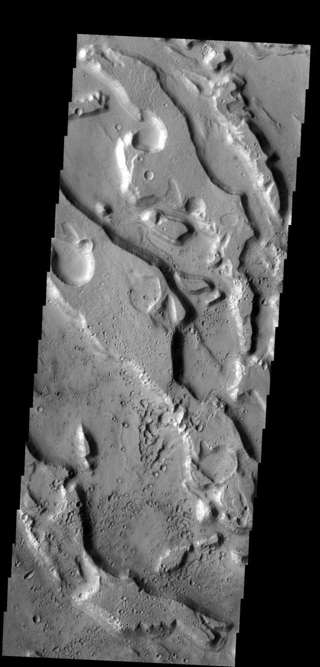 This group of channels are all part of Ares Vallis on Mars as seen by NASA's 2001 Mars Odyssey spacecraft.