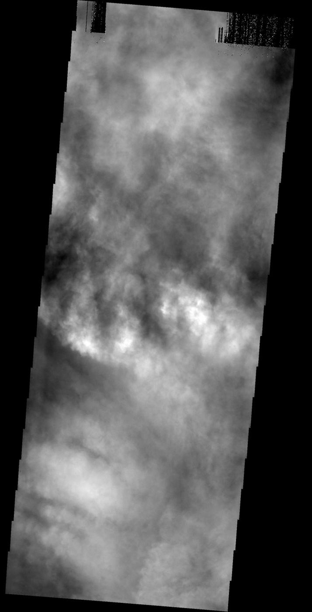 The surface of Mars is completely hidden from view by clouds as seen by NASA's 2001 Mars Odyssey spacecraft.