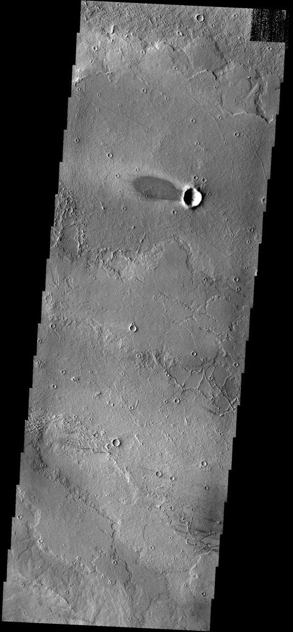 This windstreak is located on lava flows west of Arsia Mons on Mars as seen by NASA's 2001 Mars Odyssey spacecraft.