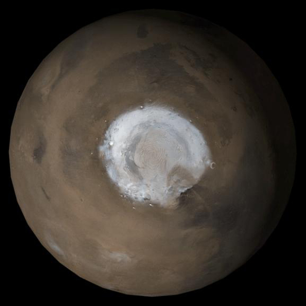 NASA's Mars Global Surveyor shows the north polar region of Mars.