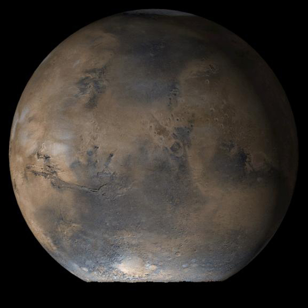 NASA's Mars Global Surveyor shows the Acidalia/Mare Erythraeum face of Mars at Ls 66° in mid-June 2006.