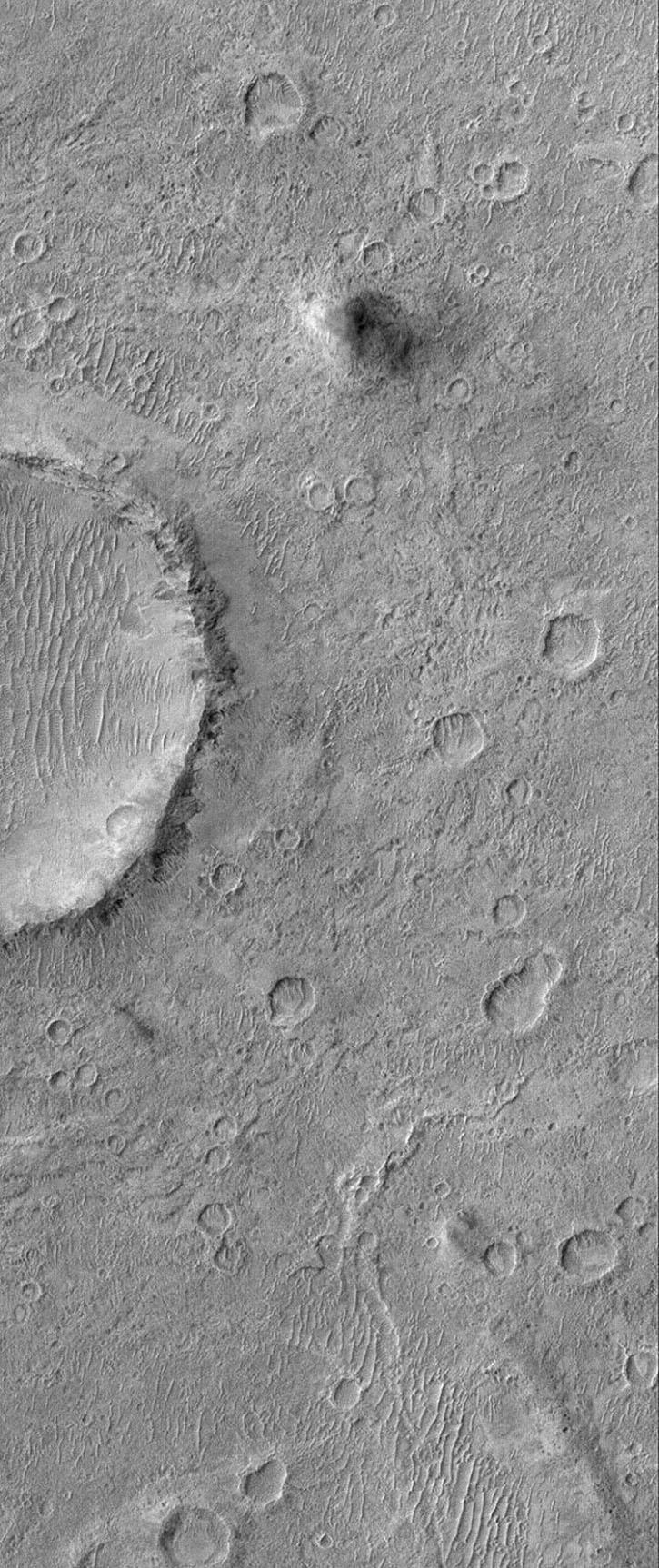 NASA's Mars Global Surveyor shows a cratered plain west of Schiaparelli Crater, Mars. The area captured in this image, and areas adjacent to it, are known for high dust devil traffic.