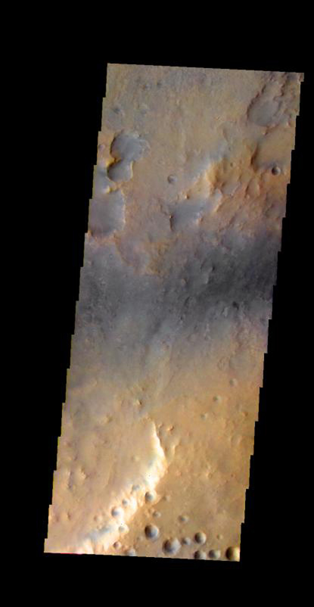 This image shows part of the Nili Fossae region on Mars as seen by NASA's 2001 Mars Odyssey spacecraft.