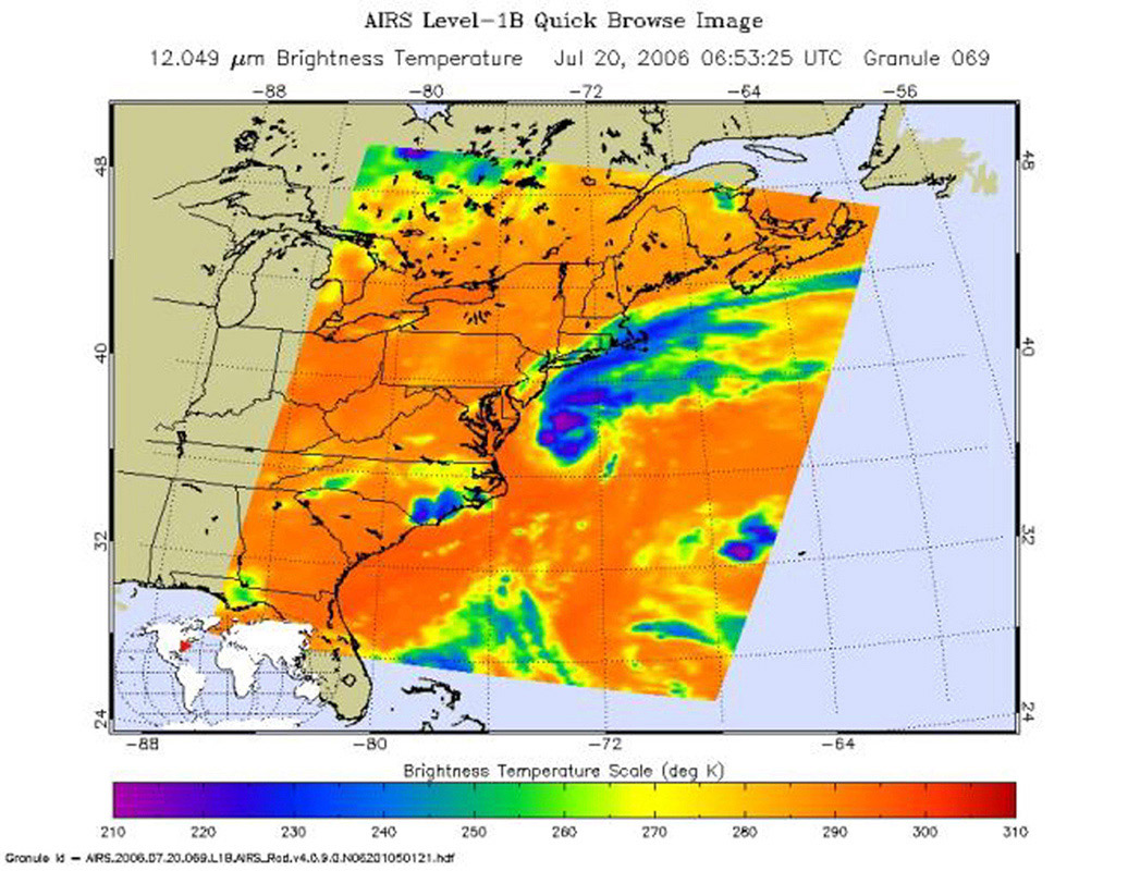 This is an AIRS infrared image of Tropical Storm Beryl in the western Atlantic, from the NASA's Aqua satellite on July 20, 2006, 1:30 am local time. The image shows the temperature of the cloud tops or the surface of the Earth in cloud-free regions.