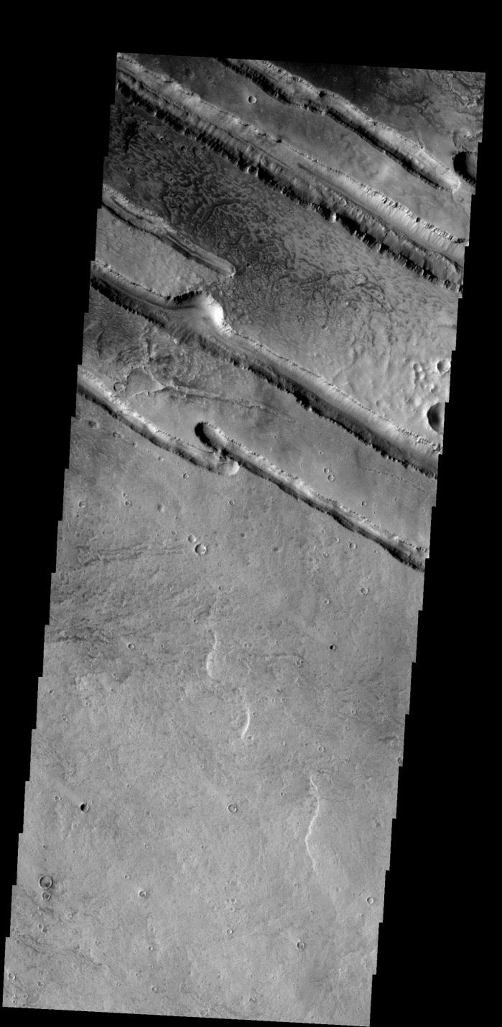 These linear fractures are part of Panchaia Rupes on Mars as seen by NASA's Mars Odyssey spacecraft.