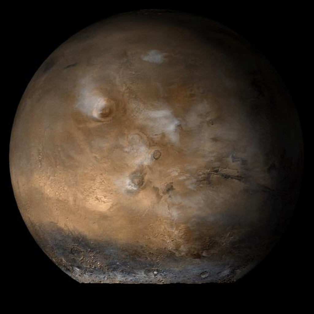 This image from NASA's Mars Global Surveyor shows the Tharsis face of Mars in mid-August, 2006.