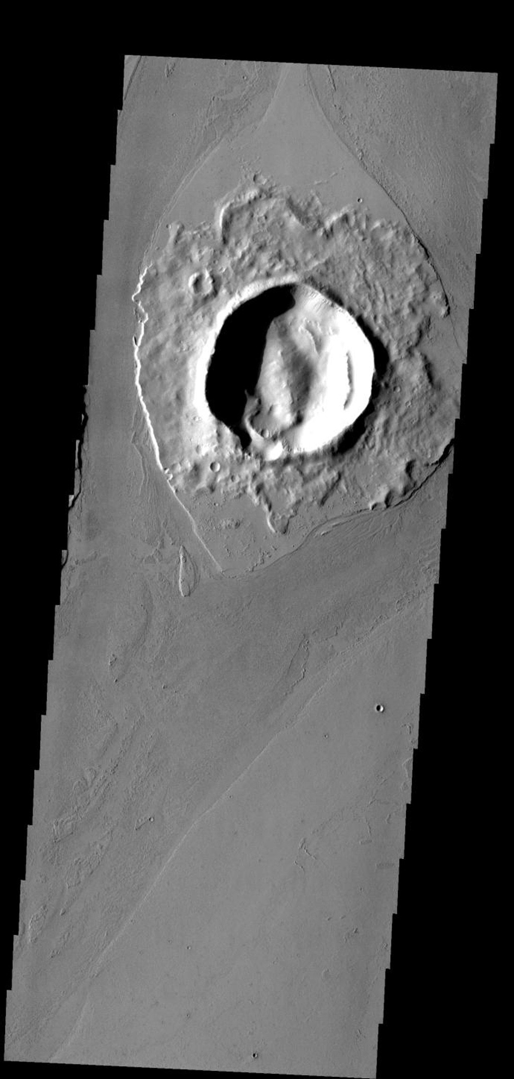 The crater in this image has affected the flow of lava around it, creating a streamlined 'island' on Mars as seen by NASA's Mars Odyssey spacecraft.