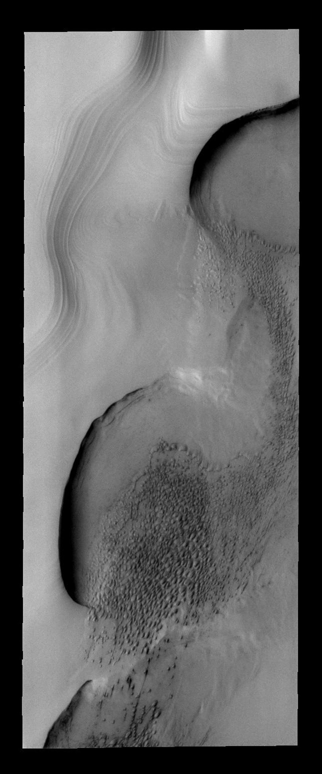 Dune fields are common within the north polar region on Mars as seen by NASA's Mars Odyssey spacecraft.
