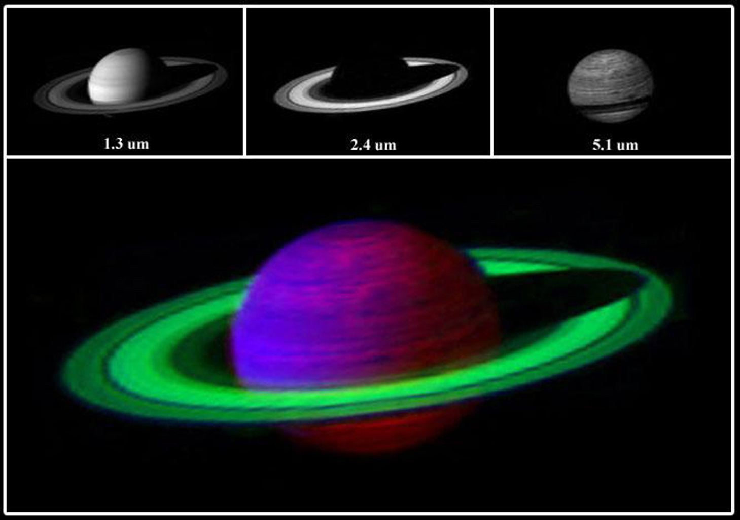 This false-color image from NASA's Cassini spacecraft of Saturn was constructed by combining three images at three different infrared wavelengths.