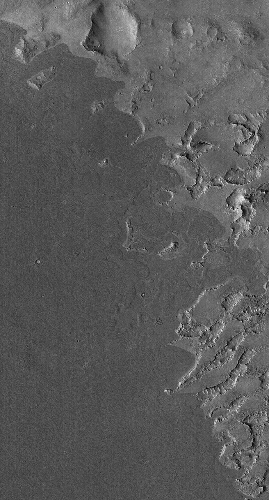 This image from NASA's Mars Global Surveyor shows dark lava flows that have embayed -- flowed up against and into -- higher, more rugged terrain in the Cyclopia/Aethiopis region of Mars (southwest of Cerberus).