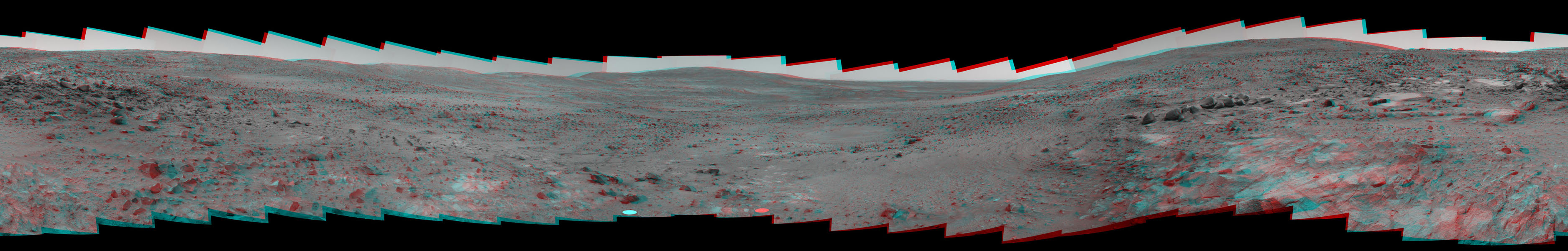 NASA's Mars Exploration Rover Spirit recorded this 360-degree vista, dubbed the 'Seminole' panorama, from partway down the south side of 'Husband Hill' in November 2005. 3D glasses are necessary to view this image.