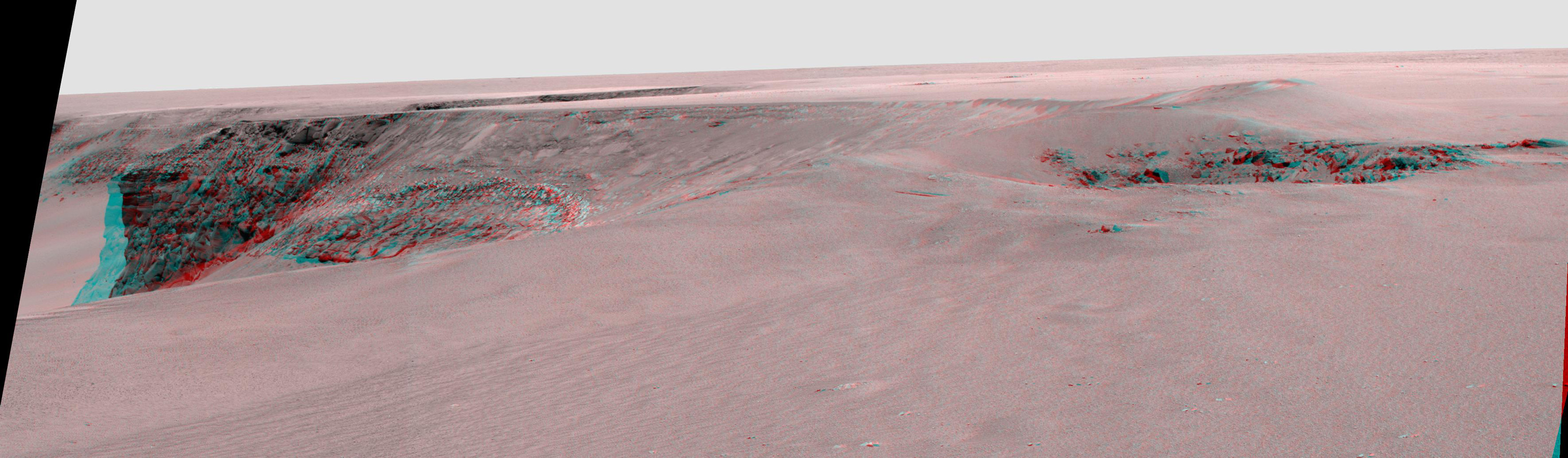 This anaglyph from NASA's Mars Exploration Rover Opportunity is of 'Victoria crater' is looking southeast from 'Duck Bay' towards the dramatic promontory called 'Cabo Frio.' 3D glasses are necessary to view this image.