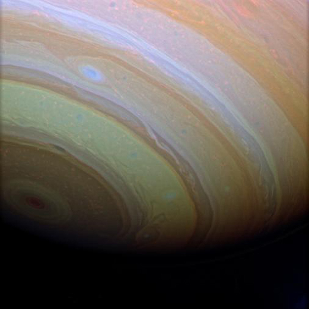 Stunning details in Saturn's clouds suggest movement within bands of atmosphere as seen by NASA's Cassini spacecraft.