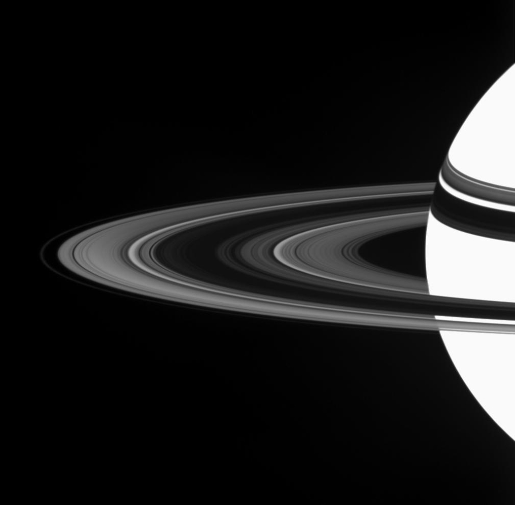 Saturn's A ring displays a marked asymmetry in brightness between the region nearer to NASA's Cassini spacecraft and the region farther from it. The A ring is the broad, bright section of the rings outside of the dark B ring.