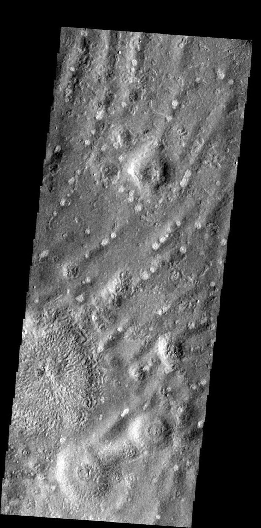 This ridged and pockmarked surface is located west of Phlegra Montes in the northern plains on Mars as seen by NASA's Mars Odyssey spacecraft.