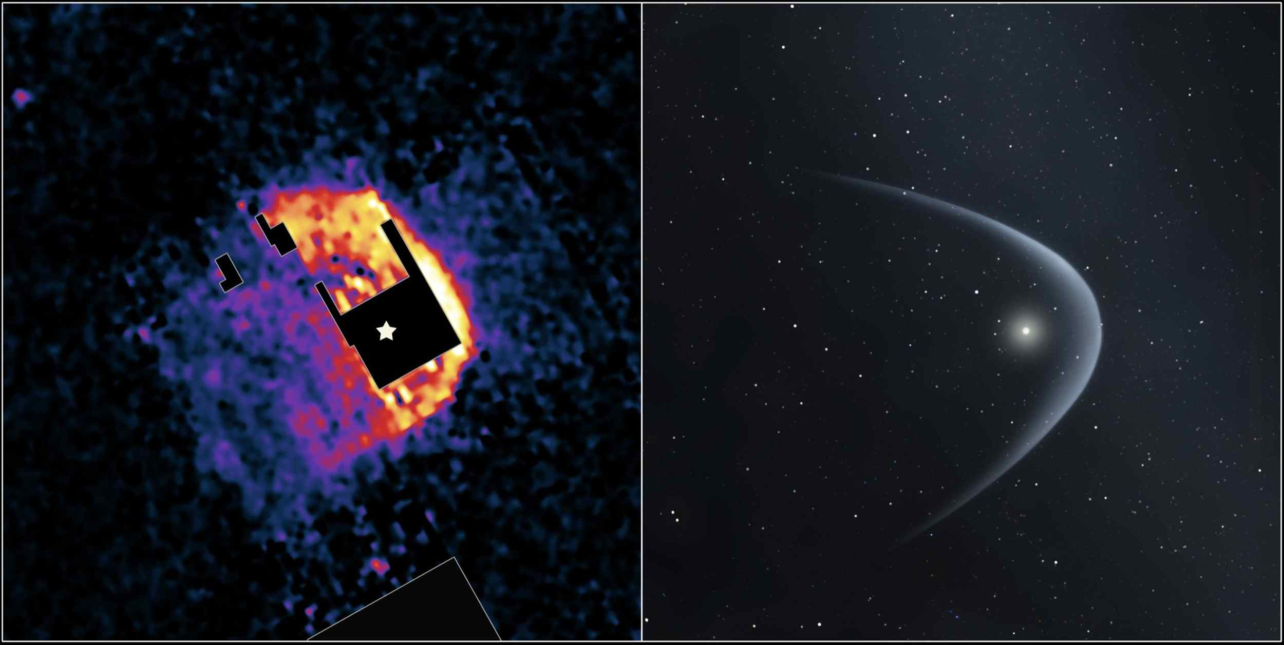 This image from NASA's Spitzer Space Telescope (left panel) shows the 'bow shock' of a dying star named R Hydrae, or R Hya, in the constellation Hydra.
