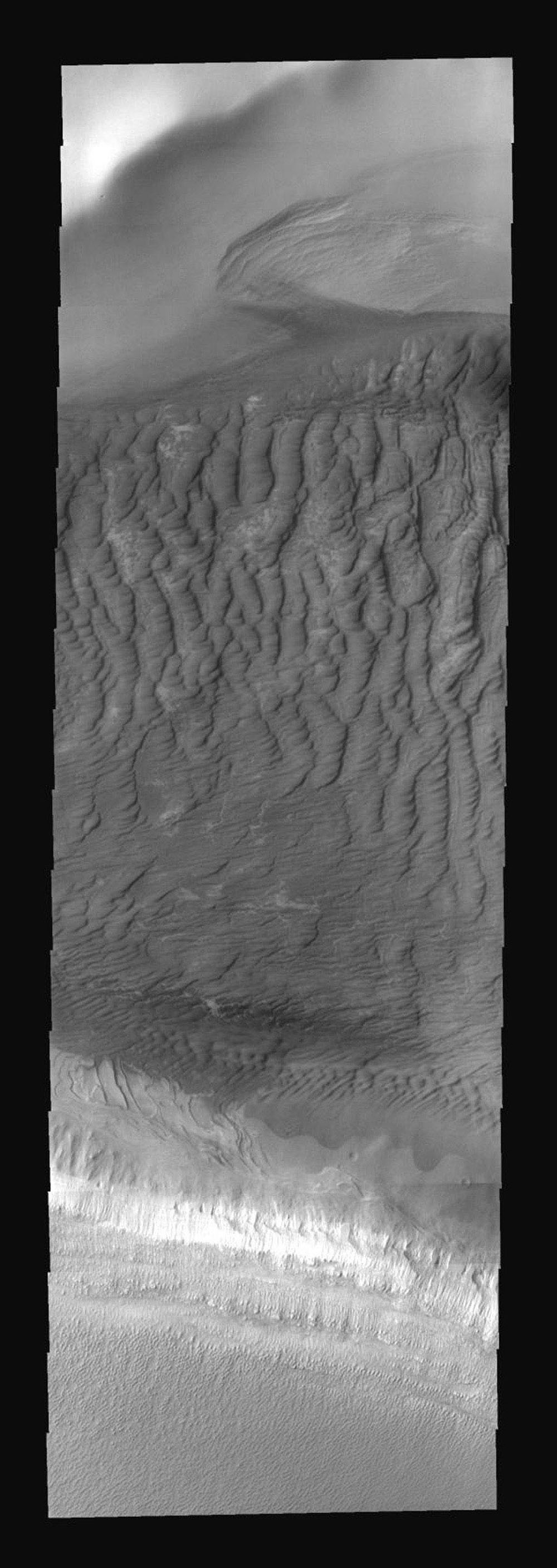 These sand dunes are part of the sand sea that surrounds the south polar cap on Mars as seen by NASA's Mars Odyssey spacecraft.
