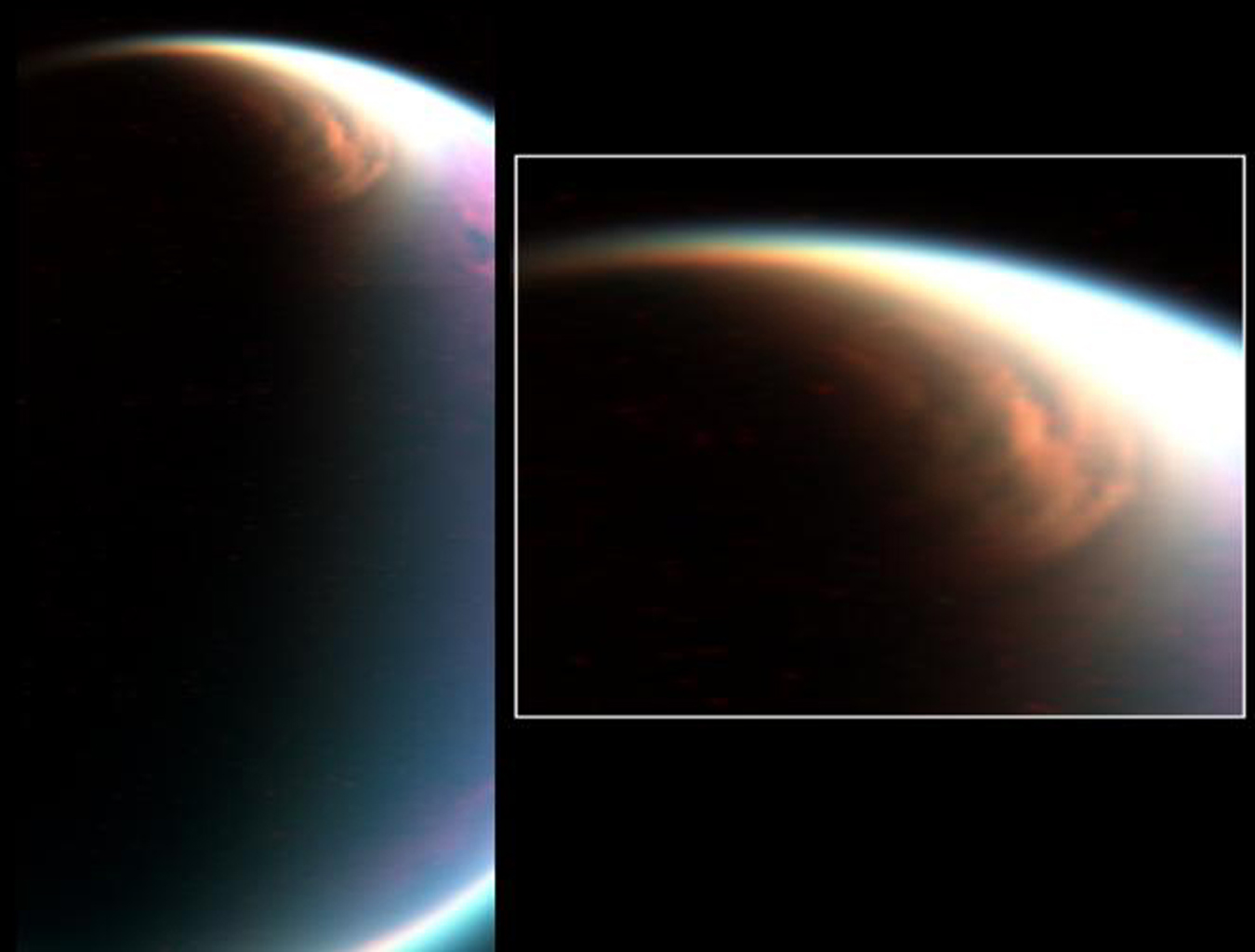 NASA's Cassini's visual and infrared mapping spectrometer has imaged a huge cloud system covering the north pole of Titan.
