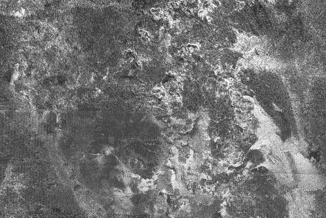 This radar image NASA's Cassini spacecraft of Titan shows Ganesa Macula, interpreted as a cryovolcano (ice volcano), and its surroundings. Cryovolcanism is thought to have been an important process on Titan and may still be happening today.