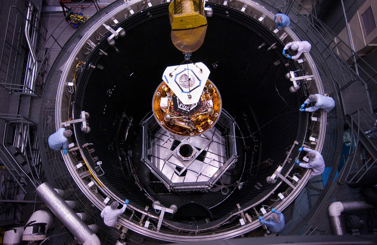 NASA's Phoenix Mars Lander was lowered into a thermal vacuum chamber at Lockheed Martin Space Systems, Denver, in December 2006.
