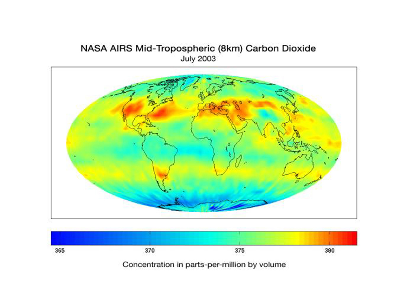 The Atmospheric Infrared Sounder (AIRS) instrument onboard NASA's Aqua spacecraft is also being used by scientists to observe atmospheric carbon dioxide.