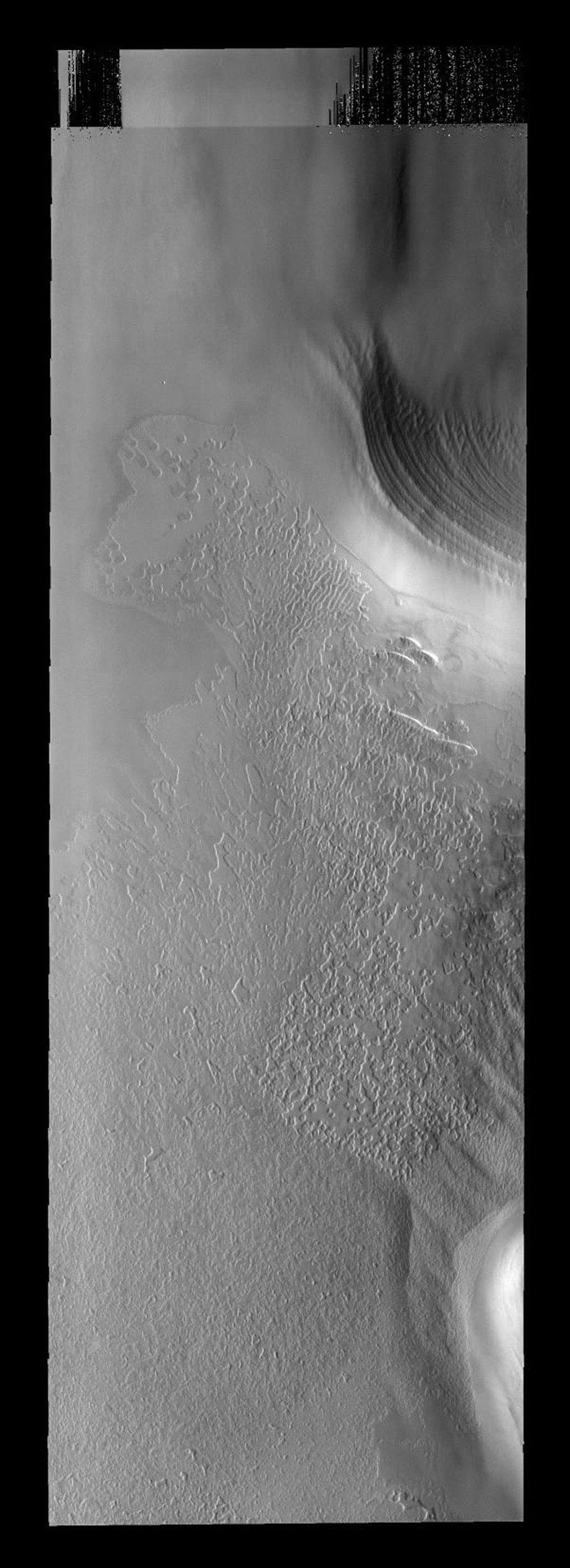 This image from NASA's Mars Odyssey spacecraft shows Mars' south polar image and its variety of surface textures.