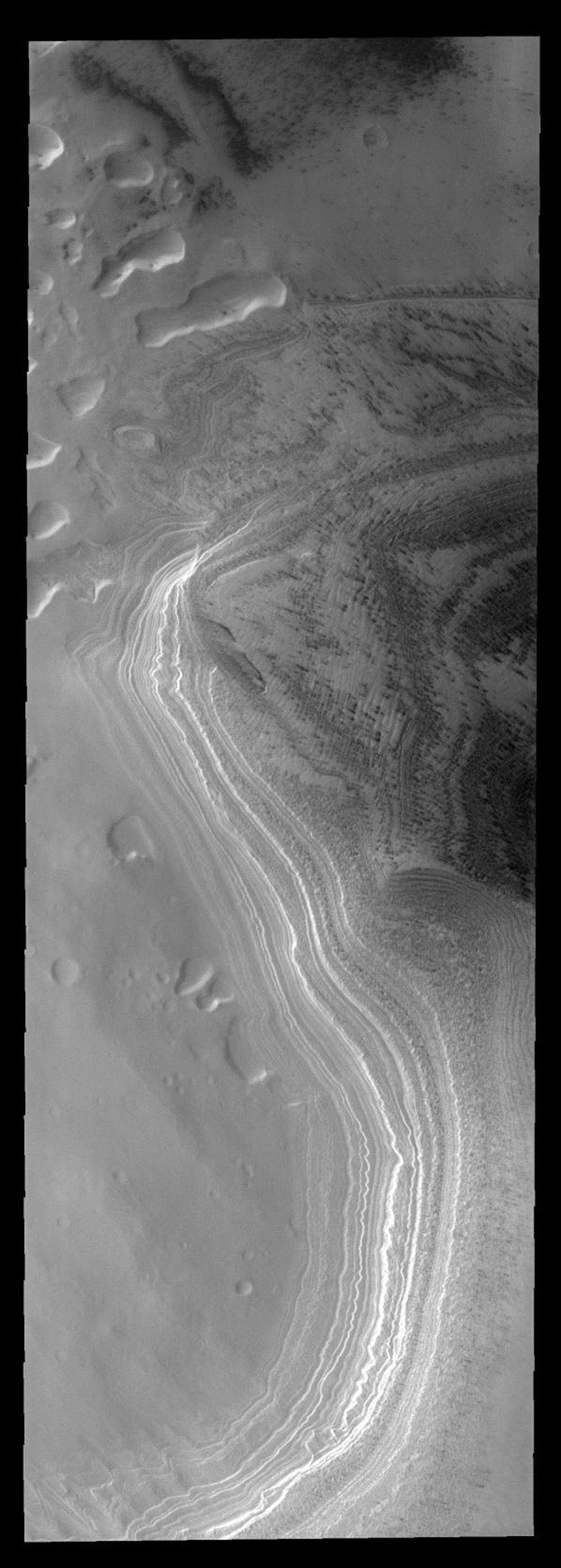This image from NASA's Mars Odyssey spacecraft shows layering of Mars' south polar cap.