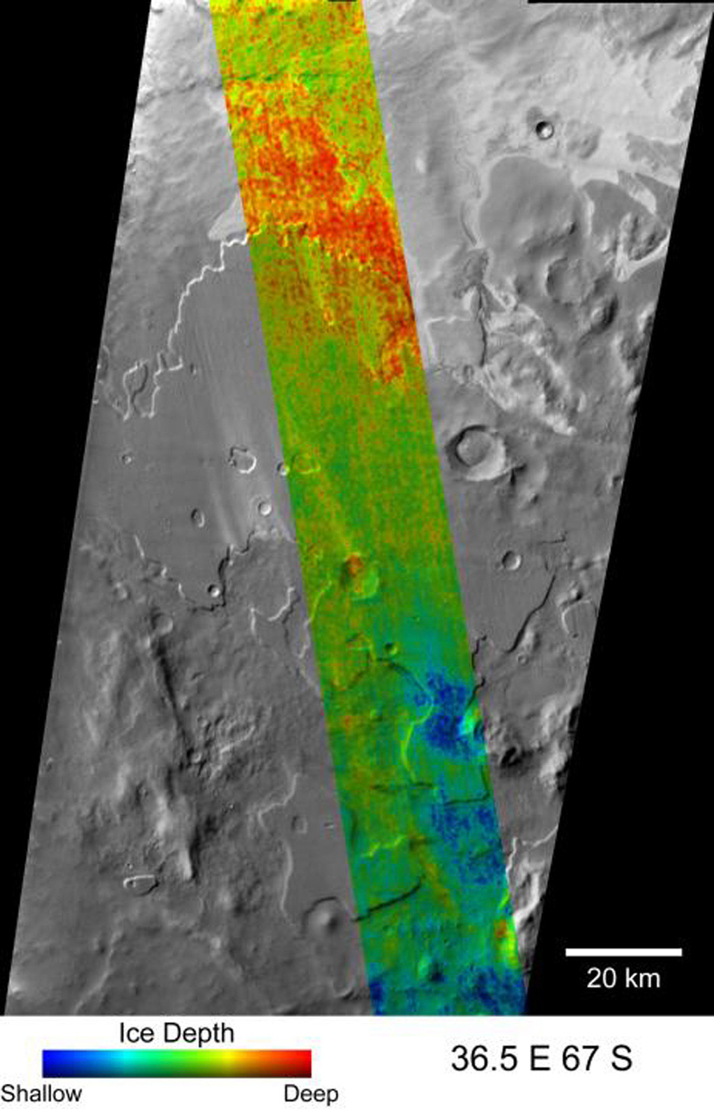 This image from NASA's Mars Odyssey spacecraft shows a map of a far-northern site on Mars indicating the change in nighttime ground-surface temperature between summer and fall.