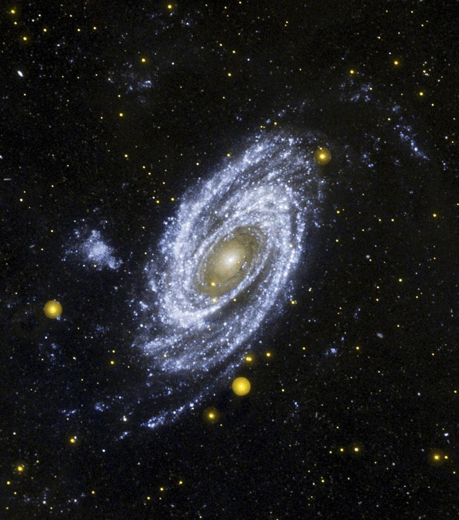 NASA's Galaxy Evolution Explorer is celebrates its fourth year in space with some of M81's 'hottest' stars. In this ultraviolet image, the magnificent M81 spiral galaxy is shown at the center.