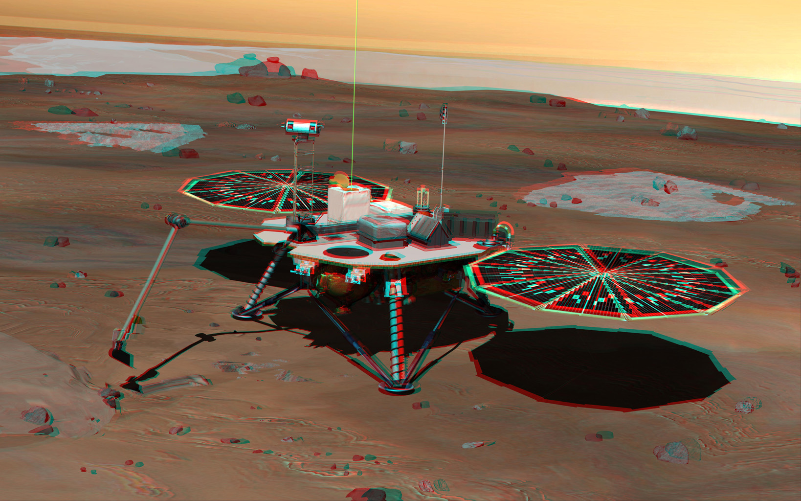 NASA's Phoenix Mars Lander monitors the atmosphere overhead and reaches out to the soil below in this stereo illustration of the spacecraft fully deployed on the surface of Mars. 3D glasses are necessary to view this image.