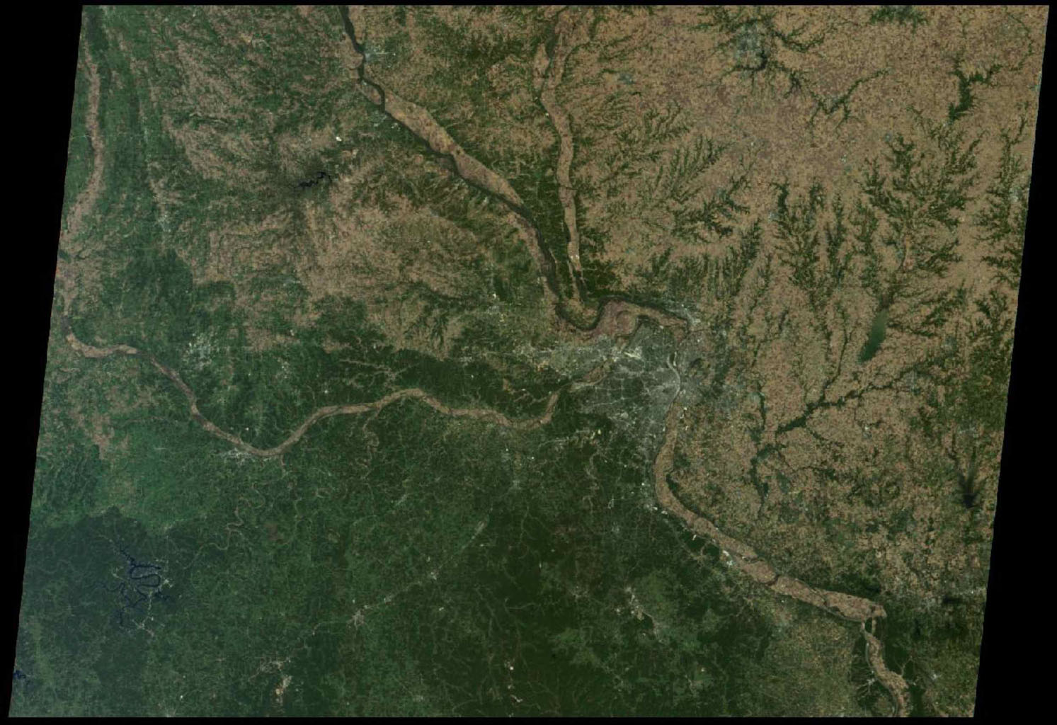St. Louis, Missouri is tucked in a bend of the Mississippi River, just south of the point at which the Illinois River joins the larger Mississippi as seen by NASA's Terra spacecraft on October 15, 2005.
