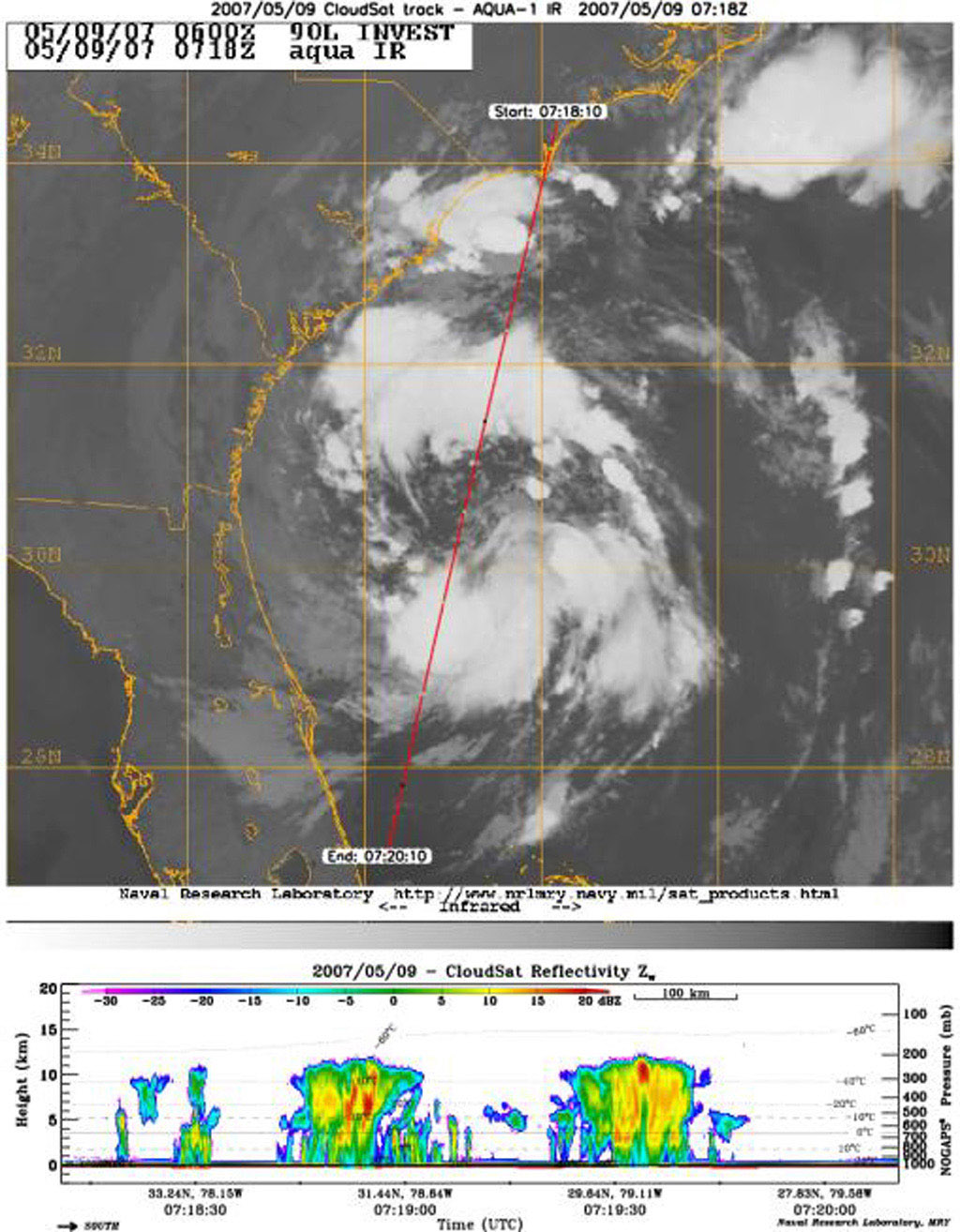 NASA's CloudSat Cloud Profiling Radar captured a profile across Tropical Storm Andrea on Wednesday, May 9, 2007, near the South Carolina/Georgia/Florida Atlantic coast.
