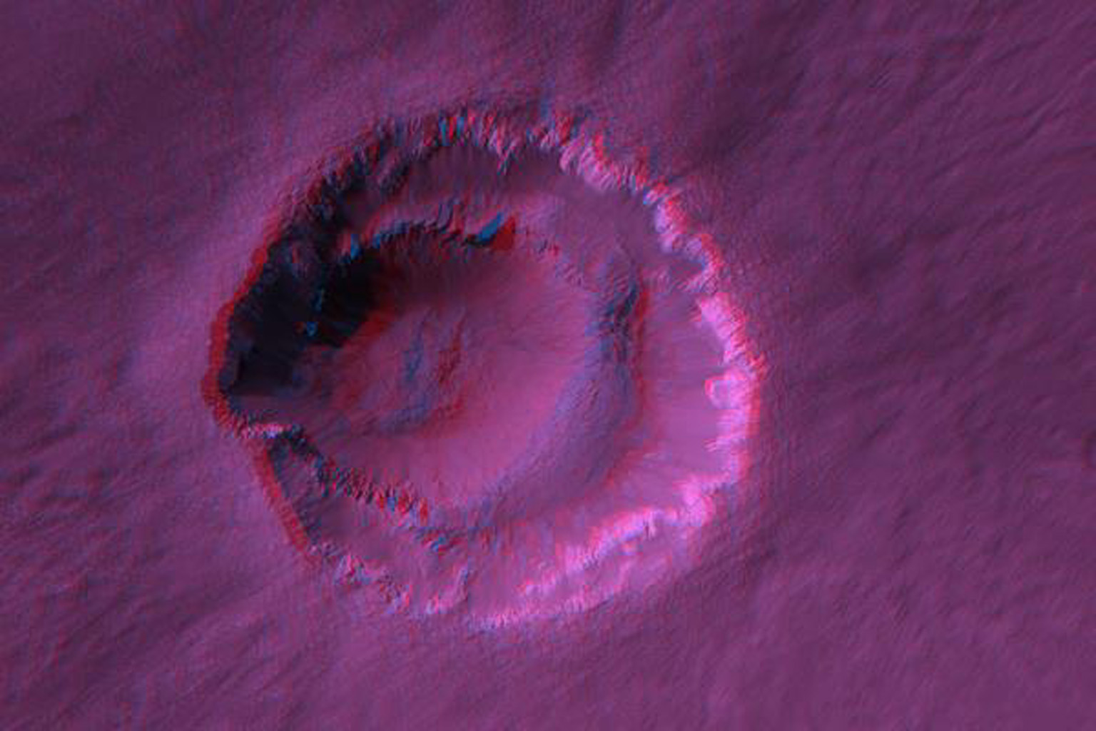 Ada Crater is a fresh (recently-formed) impact crater formed close to the southern edge of Meridiani Planum, far to the southeast of NASA's Opportunity rover. 3D glasses are necessary to view this image.