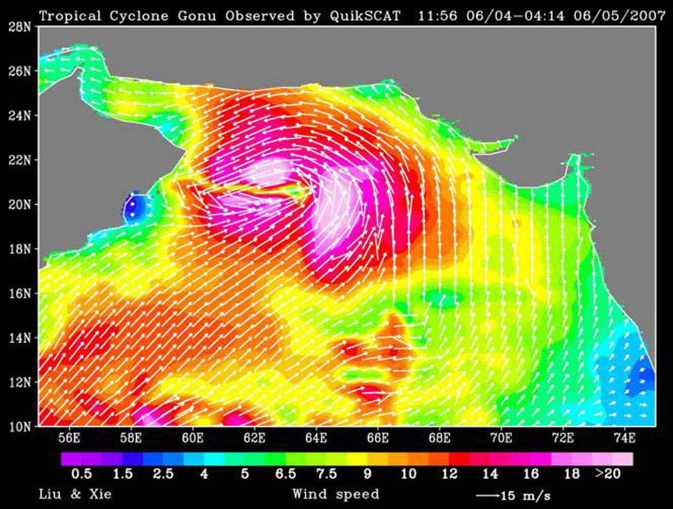 NASA's QuikScat observed a rare tropical cyclone during June, 2007, in the northern part of the Arabian Sea, threatening the petroleum shipping lanes and the Gulf States (e.g. Oman) .
