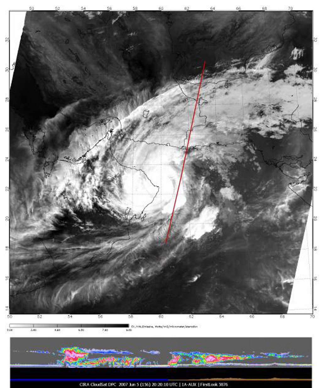 The image of Tropical Cyclone Gonu in the upper panel was taken by the Moderate Resolution Imaging Spectroradiometer (MODIS) instrument on NASA's Aqua satellite on June 5, 2007, at approximately 20:20 UTC.