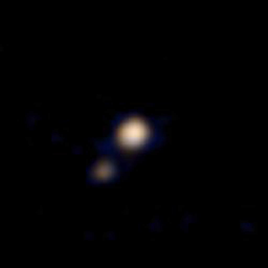 This image of Pluto and its largest moon, Charon, was taken by the Ralph color imager aboard NASA's New Horizons spacecraft on April 9 and downlinked to Earth the following day.