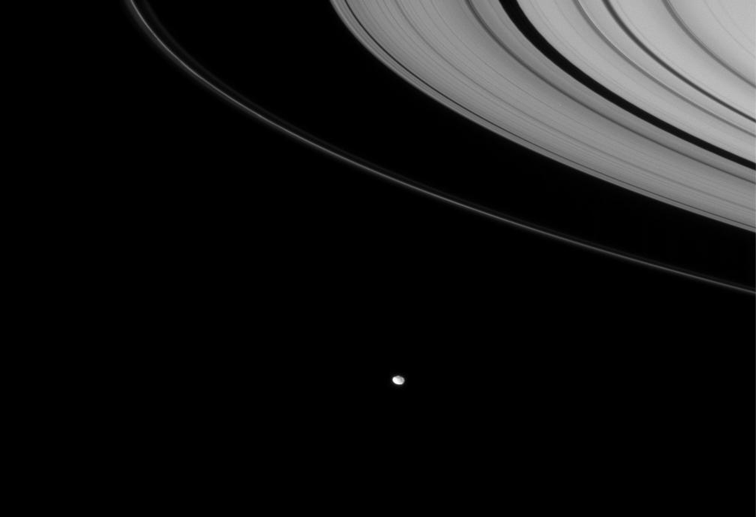 NASA's Cassini spacecraft looks down toward Janus, which hugs the outer edges of Saturn's rings. Janus orbits Saturn beyond the narrow core of the F ring in this image captured on Nov. 25, 2007.